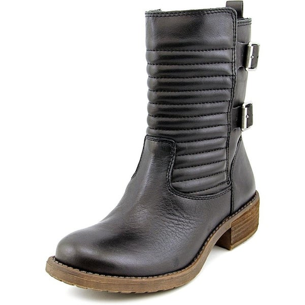 Lucky Brand Dunes Women Round Toe Leather Black Mid Calf Boot