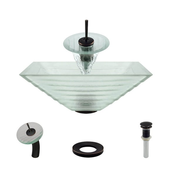 """Rene R5-5004-WF 16-1/2"""" Glass Vessel Bathroom Sink with Waterfall Faucet, Sink Ring, and Vessel Pop-Up Drain"""