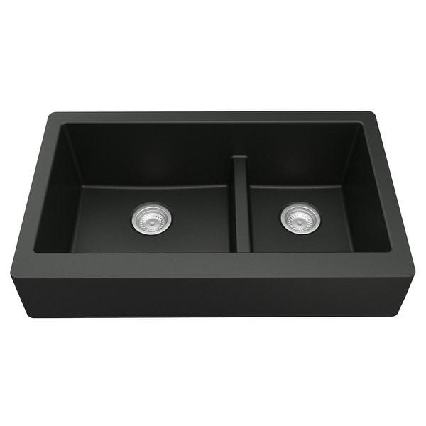 Karran Retrofit Apron-Front Quartz Double Bowl Kitchen Sink. Opens flyout.