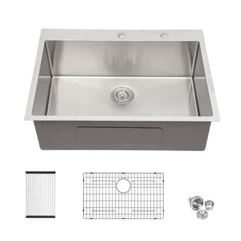Lordear 30 inch Drop-in Stainless Steel Single Bowl Topmount Kitchen Sink