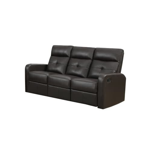 Monarch Specialties I 85 3 72 Inch Wide Metal Framed Leather Sofa Glider  Recline   Free Shipping Today   Overstock.com   25945012