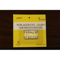 Pack of 6 Replacement Fuses For Mini Christmas Lights - 5 Amps - CLEAR
