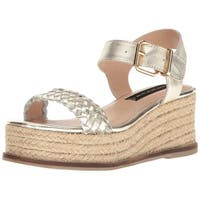 STEVEN by Steve Madden Womens sabble Leather Open Toe Casual Platform Sandals