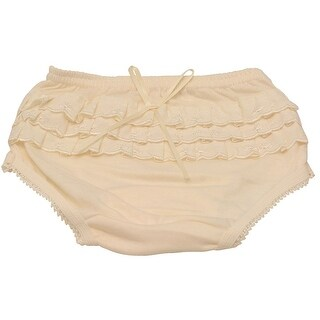 Piccolo Baby Girls Ivory Embroidered Ruffle Detail Scallop Trim Underwear 12M