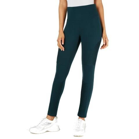 INC Women's Moto High-Waist Comfort Tummy-Control Leggings, Green, XL
