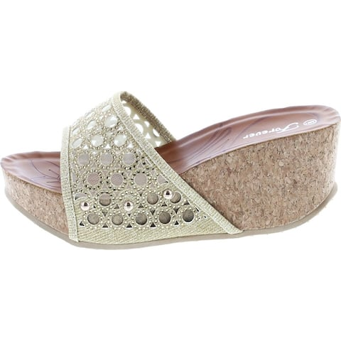 Forever Womens Cork Wedge Open Toe Rhinestone Embellished Sandals