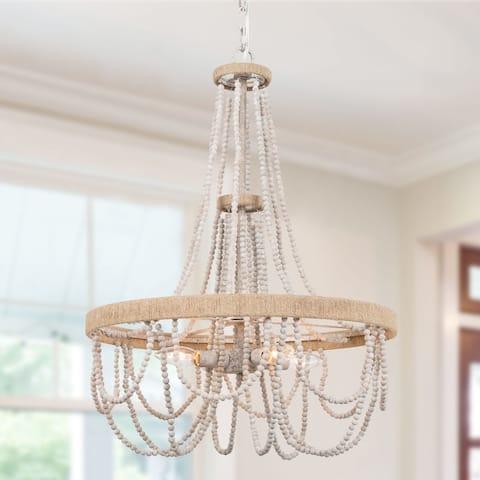 Contemporary 4-Light Wood Beads Chandelier Boho Coastal Hanging Light