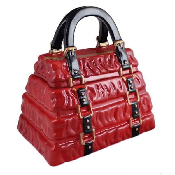 Neiman Marcus Red Pleated Handbag Cookie Jar 9 0 In X 6