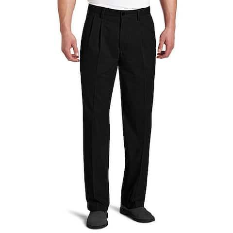Dockers Men's Waist Classic-Fit Pleated Pant, Black, 48W x 30L