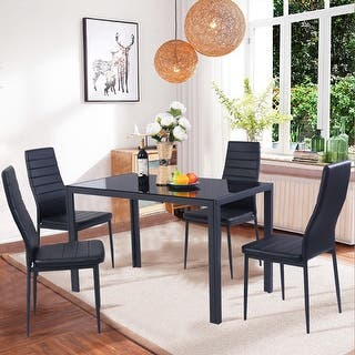 costway 5 piece kitchen dining set glass metal table and 4 chairs breakfast furniture - Breakfast Table With Chairs