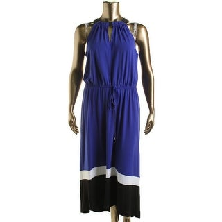 London Times Womens Colorblock Sleeveless Maxi Dress - 14
