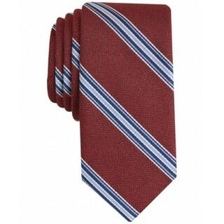 BAR III NEW Burgundy Red Mens One Size Corby Striped Slim Neck Tie