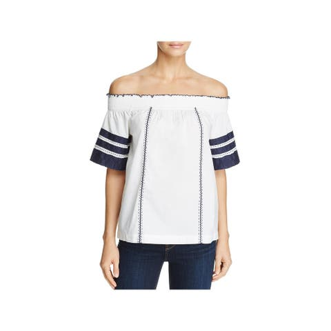 Tory Burch Womens Portia Casual Top Embroidered Off The Shoulder