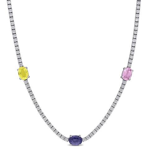 Miadora 18k White Gold Multi-color Sapphire & 2 1/3ct TDW Diamond Station Tennis Necklace - 17 inch x 5.4 mm