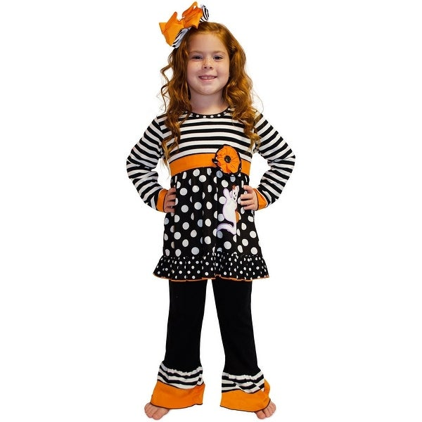 cc719252214 Shop AnnLoren Baby Girls Boutique Halloween Stripe Dot Ghost Outfit 6-24M -  Free Shipping On Orders Over  45 - Overstock - 18165982
