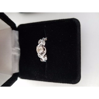 14k White Gold 3/8ct TDW Vine Petal Vintage Style Diamond Engagement Ring