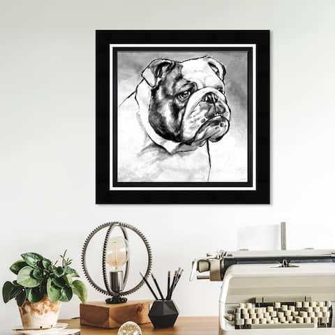 Oliver Gal 'English Bulldog' Animals Framed Wall Art Prints Dogs and Puppies - Black, White