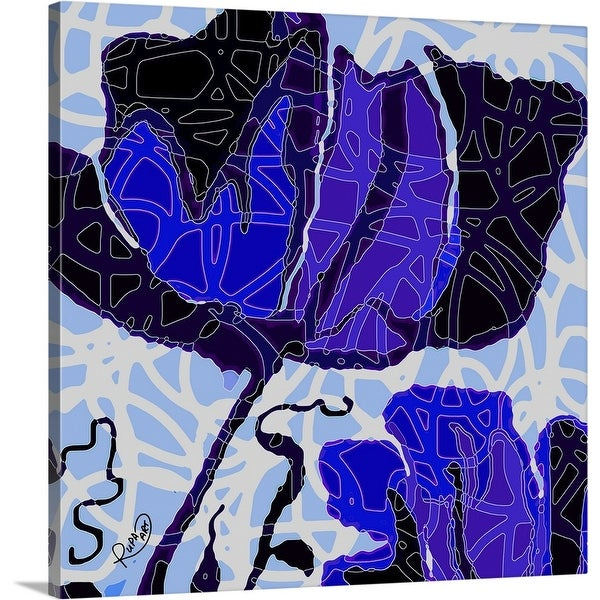 """""""Large Blue Abstract Flower"""" Canvas Wall Art"""