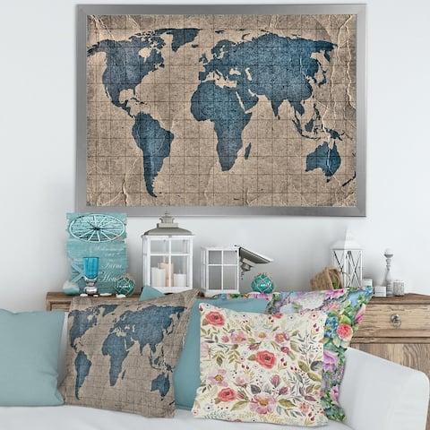 Designart 'Ancient Map of The World I' Rustic Framed Art Print