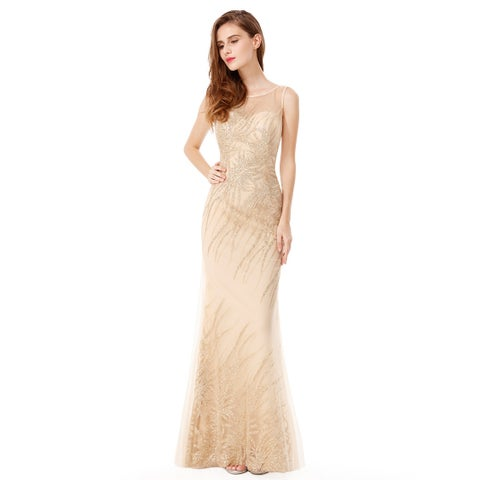 Ever-Pretty Women's Glitter Gold Formal Evening Ball Gown Party Dress 08929