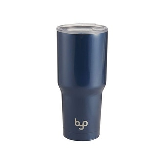 BYO Double Wall Stainless Steel Vacuum Insulated Tumbler With Spill Proof Tritan Lid For Hot & Cold Drinks 30 Oz-Metallic Blue