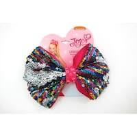 Jojo Siwa Large Cheer Rainbow Hair Bow with Reversible Sequins on Elastic Ponytail Holder