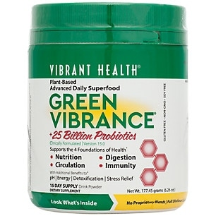 Vibrant Health Green Vibrance Powder 177.5g - 15 Servings - Super Food - Digestion - Cardiovascular Function - Multi