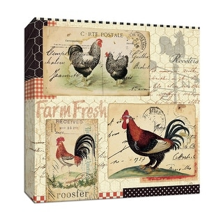 "PTM Images 9-152827  PTM Canvas Collection 12"" x 12"" - ""Rooster Farm II"" Giclee Roosters Art Print on Canvas"