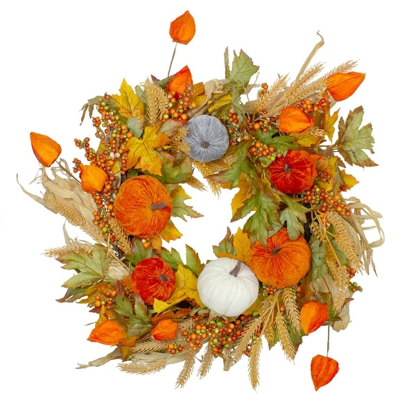 Velvet Pumpkins and Wheat Artificial Fall Harvest Wreath - 24-Inch, Unlit - Orange. Opens flyout.