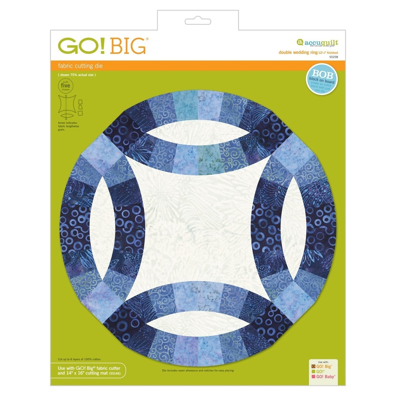 Accuquilt Go Big Double Wedding Ring 12 1 2 Finished Fabric Die