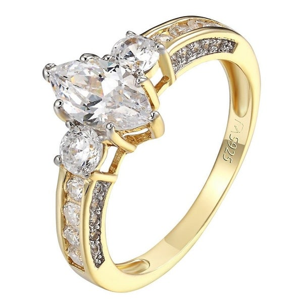 Marquise Cut Wedding Ring Ladies Engagement Bridal Solitaire Gold On 925 Silver