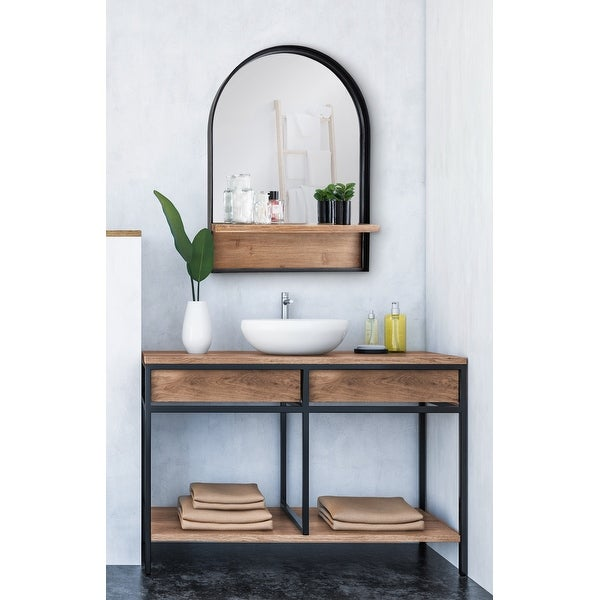 Kate and Laurel Owing Framed Arch Mirror with Shelf - Black - 24x32. Opens flyout.