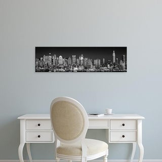 Easy Art Prints Panoramic Images's 'New York City, Panoramic view of the West side skyline at night' Premium Canvas Art