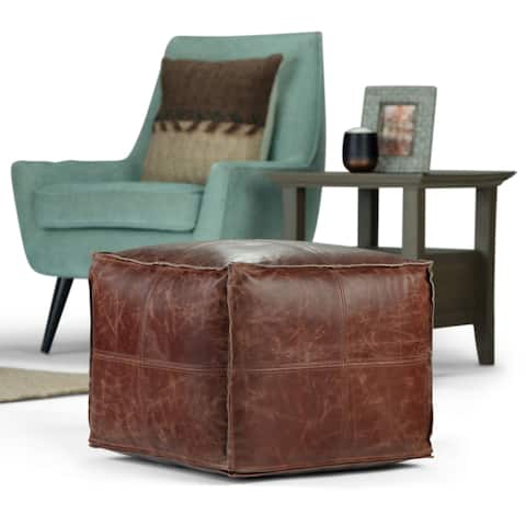 WYNDENHALL Erving Boho Square Pouf in Genuine Leather