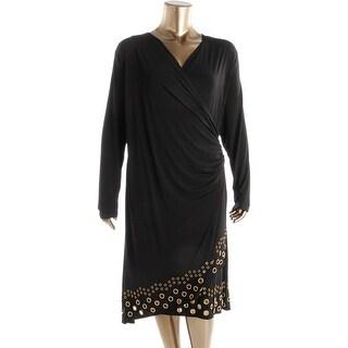 MICHAEL Michael Kors Womens Plus Matte Jersey Grommet Hem Wrap Dress - 3X
