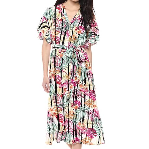 Nine West Multi White Womens Size 6 Floral-Print Tie-Waist Shirt Dress