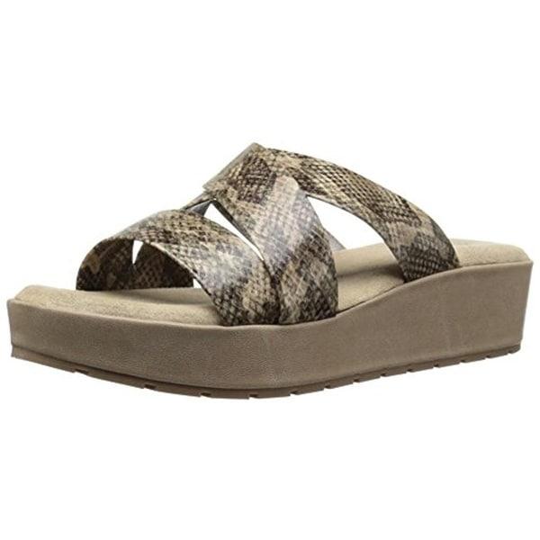 Kenneth Cole Reaction Womens Calm-Ing Flatform Sandals Snake Print Slide