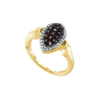 10k Yellow Gold Cognac-brown Colored Diamond Cluster Womens Marquise-shape Oval Fine Ring 1/4 Cttw - Brown