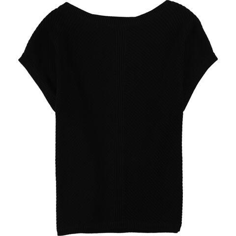 Ralph Lauren Womens Cap Sleeve Knit Sweater, Black, X-Large