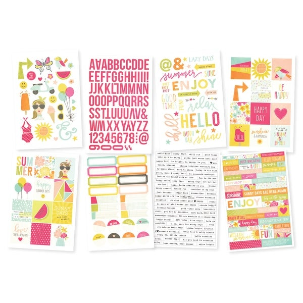 "Sunshine & Happiness Stickers 4""X6"" Sheets 8/Pkg-"