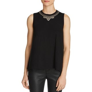 Three Dots Womens Tank Top Jersey Embellished