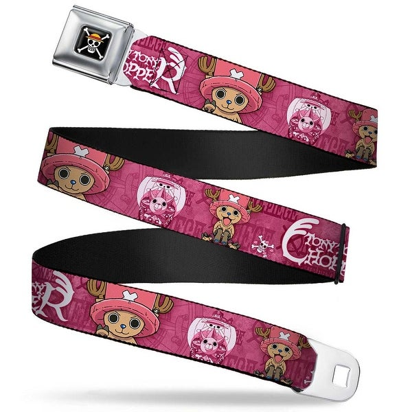 One Piece Skull Logo Full Color Tony Chopper Poses One Piece Pinks White Seatbelt Belt