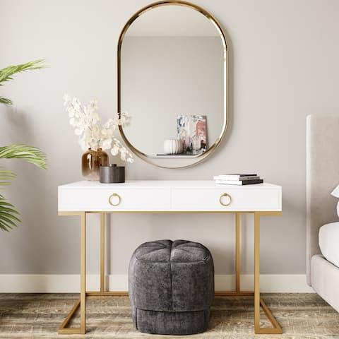 BELLEZE 2-Drawer Computer Desk Table, Wood & Metal, White & Gold - standard