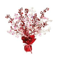 Pack of 12 Red and Opalescent Heart Gleam 'N Burst Valentines Centerpieces 15""
