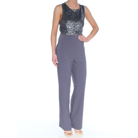 KENSIE Womens Gray Sequined Sleeveless Jewel Neck Wear To Work Jumpsuit Size: XXL