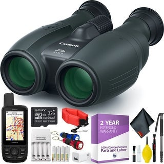 Canon 10x32 IS Image Stabilized Binocular + Handheld GPS + Cleaning Kit + 2 Year Extended Warranty