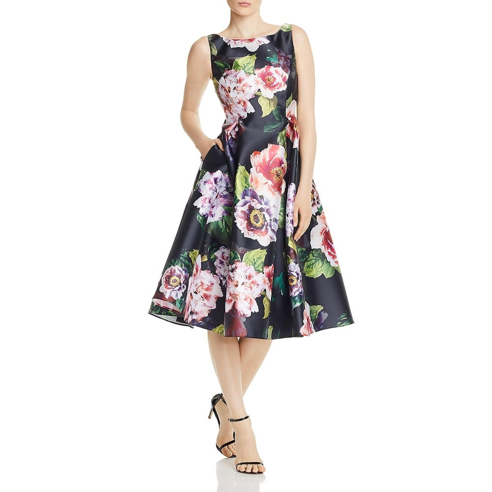 Adrianna Papell Womens Semi-Formal Dress Sleeveless Floral - Black Multi