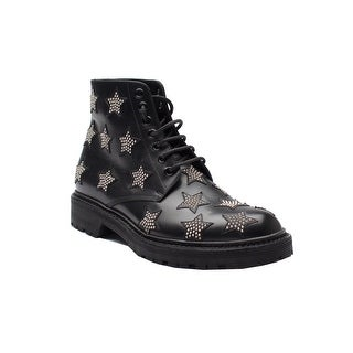 Saint Laurent Women's Studded Star-Pattern Leather Boots Black
