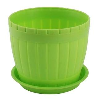 Garden Plastic Cylinder Plant Grass Flower Vegetable Planting Holder Pot Green