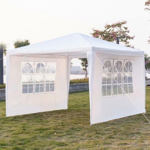 3 x 3m Three Sides Waterproof Tent/Awning with Spiral Tubes White